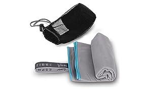 freigeist Microfaser Handtuch Set Grau - 50 x 100 cm & 80 x 160 cm, Outdoor Handtücher, Reisehandtücher, Sporthandtücher