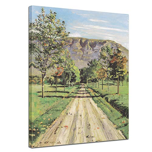 Leinwandbild Ferdinand Hodler Die Strasse nach Evordes - 50x70cm hochkant - Wandbild Alte Meister Kunstdruck Bild auf Leinwand Berühmte Gemälde