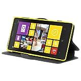Cadorabo - Custodia Book Style Slim Line per > Nokia Lumia 1020 < con Supporto Funzione e Vani di Carte – Etui Case Cover Involucro Bumper in ICY-NERO