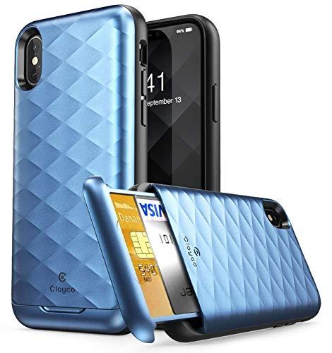 Clayco Serie Argos–Handy Schutz für iPhone X mit Tasche für Kreditkarten, Blau