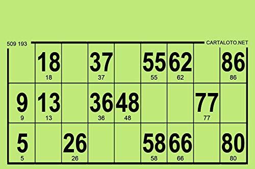 CARTALOTO-1000 Cartulinas de Loto rígidas, Formato estándar, Grosor 1,5 mm, Color: Verde, GTRI1000-03, Multicolor.