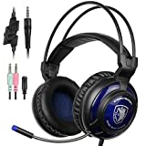 SADES SA805 Gaming Headset over-ear Gaming cuffie Gaming con microfono per multi-platform New Xbox One/PC/PS4 con controllo del volume (nero blu)