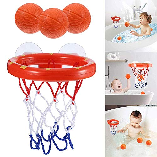XUNKE Jouets pour Le Bain , Panier de Basket pour Le Bain Amusant pour Enfants et Tout-Petits avec 3 Balles, Jeu de tir pour la Baignoire pour Filles et Petits Garçons