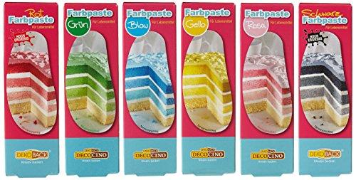 Dekoback Lebensmittelfarb-Pasten / Gel Spar-Set mit 6 verschiedenen Farben, 6er Pack (6 x 25 g)