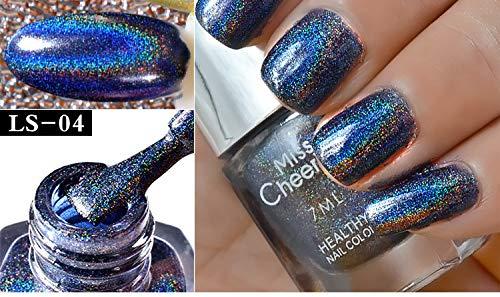 Cwemimifa Farblack,Nagel-Effekt-Nagel-Puder No Polish Foil Nails Art Glitter Silver,LS-04 (Silber-metallic-lack-latex)