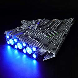 BRIKSMAX Kit de LED pour Lego Star Wars First Order Star Destroyer,Compatible avec la Maquette Lego 75190, La Maquette de Construction n'est Pas Incluse