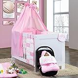 5-tlg. Babybettset Kleiner Prinz oder Kleine Prinzessin in Blau, Rosa oder Cream, Farbe:Rosa;Motiv:Kleine Prinzessin