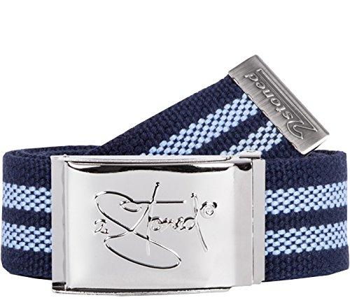 2Stoned Stoff-Gürtel 4cm mit Chromschnalle in Navy-Hellblau für Damen und Herren (Nylon Herren Anzug)
