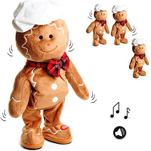 alles-meine.de GmbH XL - singender & Tanzender -  Pfefferkuchenmann / Lebkuchen - I Wish You a Merry Christmas  - Plüschtier mit Sound & Bewegung - 40 cm - aus Stoff / Plüsch -..