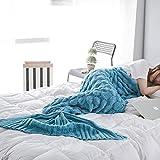 Meerjungfrau Decke Erwachsene, Handarbeit Strickmuster Blau Meerjungfrau Fischschwanz Decken Weiche Strick Meerjungfrau Schwanz Schlafsack für Frauen Mädchen Weihnachtsgeschenk