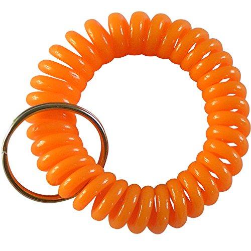keyfix Schlüsselarmband , Fitness Spiral Schlüsselband für Garderoben und Spind-Schlüssel orange , KF013