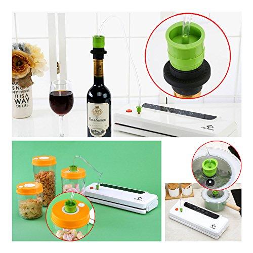 Vakuumierer von LifeBasis Lebensmittel Vakuumiergerät Folienschweißgeräte Trennbar Vakuum-vakuumieren mit Vakuumierschlauch, doppelte 33cm Schweißnaht, 150W inkl.20 gratis Folienbeutel Sous-Vide Garer geeignet - 5