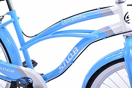 SNOB AMERICAN CLASSIC CALIFORNIA STYLE 26″ WHEEL LADIES LIFESTYLE BEACH CRUISER BIKE BLUE & WHITE 19″ FRAME WITH MUDGUARDS