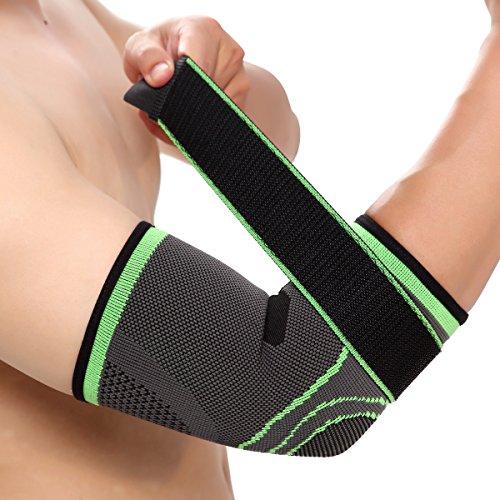 Vitoki Ellenbogen-Bandage Compression Unterstützung Sleeve mit verstellbare Beriemung für Schmerzlinderung, Meniskus Reißfestigkeit, Arthritis, Verletzungen, Laufen, Gelenkschmerzen, Größe L -