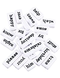 Hexawata Black English Letters Carved White Rectangle Acrylic Beads For Jewelry Making Pack Of 20pcs