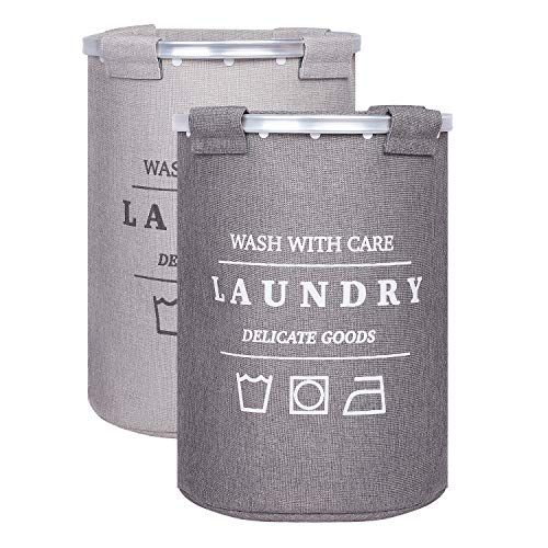LARS NYSØM Wäschekorb Sortierer I 2er Set Wäschesammler mit herausnehmbarem Wäschesack I Laundry Baskets I Wäschekörbe 2 x 60 Liter (55 x 40 cm) I Ersatz Innensack inkludiert