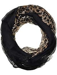 Chiffon Fashion Scarf / Animal Flower Printed Classy Scarves (Leopard Black)