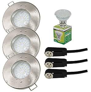 Trango® 3er Set IP44 Einbaustrahler Nickel Matt TG6729IP-032B Bad / Dusche / Sauna inkl. 3x GU10 3,0 Watt LED Leuchtmittel 3000K w-weiß & Fassung Einbauleuchten Edelstahl lackiert rostfrei
