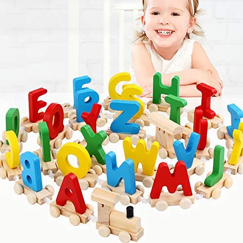 JW-YZWJ Lettres de Bois Brochage Petit Train Jouets pour Enfants Early Education Puzzle 3-4-5 Ans Lettres Couleur Blocs de Construction Cognitive