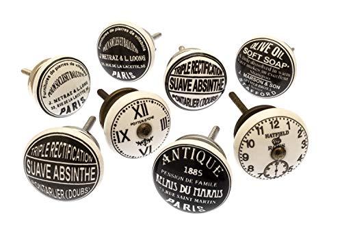 Set mixto de pomos vintage en blanco y negro, de cerámica, para alacenas, paquete de 8 unidades, de la marca Mango Tree