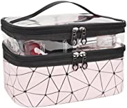 Cosmetic bag, jaymag Double Layer Travel Makeup Bags For Women, Waterproof Portable Cosmetic Cases Make up Org