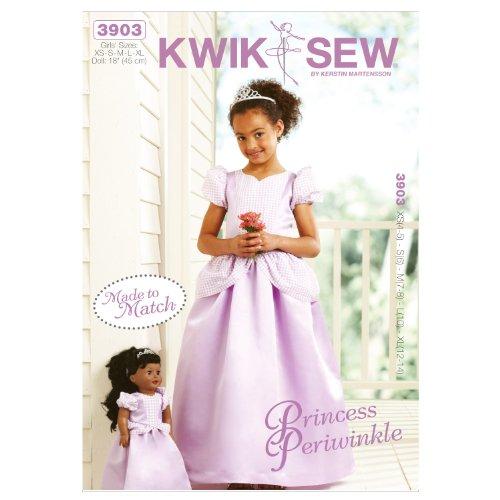 Zoll 18 Muster Puppe (Kwik Sew Muster 4–5Größe XS–S 6–M 7–8–L 10–Extra Groß 12–14K390318Puppe Prinzessin Periwinkle Mädchen und Puppe, damit Kleider, Weiß, 1Stück)