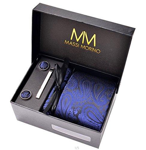 Massi Morino Paisley Krawatten - Box Set mit Einstecktuch, Manschettenknöpfe und Krawattennadel, handgenäht aus Mikrofaser Kunstseide in bunten Paisleymuster, inkl. Geschenkbox (Dunkelblau)
