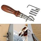 Dealglad®, set di attrezzi 7 in 1 per lavorazione del cuoio fai da te, attrezzo regolabile per...