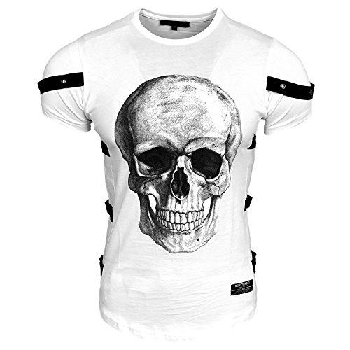 Skull Jack (Rusty Neal Herren T-Shirt Rundhals Totenkopf Skull Applikationen RN-15150, Größe:S, Farbe:Weiß)