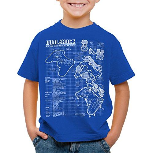 style3 Dualshock Controlador Camiseta para Niños T-Shirt PS videojuego videoconsola, Color:Azul;Talla:152