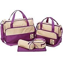 Naerde 5pcs bebé pañales cambio pañalera SET con bolsa especial Organizador (púrpura)
