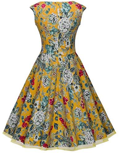 HOMEYEE Femme 1950's Vintage Bridesmaid Partie Big Swing A Line Robe B003 Jaune avec fleur