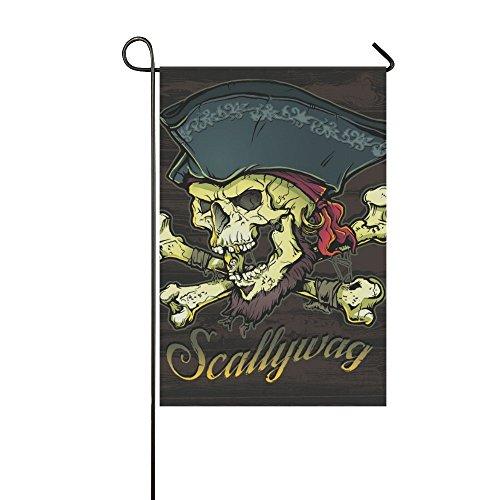 interestprint Happy mehr eigene skallywag Pirat Skull Fahne Deko Outdoor Double Garten Flagge, 12x18 inch