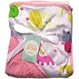 N&M Double Layer Velvet Fleece Newborn Printed Baby Blanket With Hood (Pink Elephant)