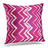 Wnocd Throw Pillow Covers Case Pink Girly Sketchy Chevron Zig Zag Colorful Crayon Decorative Pillowcase Cushion Cover for Sofa Bedroom Car 18 x 18 inches
