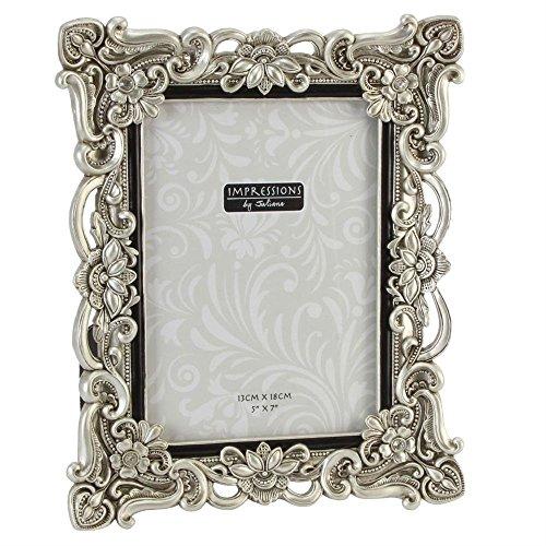 Impressions Bilderrahmen, Kunstharz, mit Kristallsteinen, Antik-Silber, 13 x 18 cm