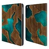 Head Case Designs Offizielle Alyn Spiller Aqua Holz Und Harz Brieftasche Handyhülle aus Leder für iPad Air (2013)