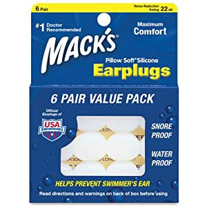 Mack's Pillow Soft Silicone Putty Ear Plugs - Pack of 6 Pairs
