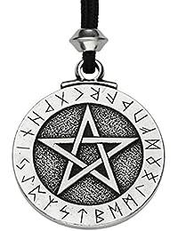 Colgante de Pentáculo Rúnico de Estaño - Hecho a Mano - ~ Pentagrama de Protección