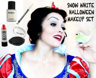 Halloween biancaneve set include–fondotinta liquido bianco 30g, rosso rossetto, kohl black eyeliner, stargazer black compact eyeshadow