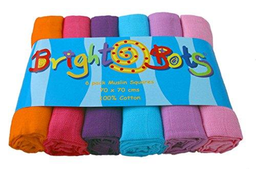 Bright Bots Combo Musselin-Quadrate für Mädchen (70cm, 6Stück) -