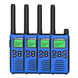 FLOUREON Walkie Talkies, 4PCS 16 Canales PMR 446MHZ con Alcance de hasta 5000 Metros/ 3.1Miles Interfono Portátil, Color Azul