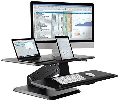 Stehpult Konverter 81,3cm-Höhe verstellbar Desktop Sit Stand Schreibtisch mit großer Tastatur Tablett, Easy Lift Riser mit Gas Spring Assist von Mount-It. Cabrio Stand