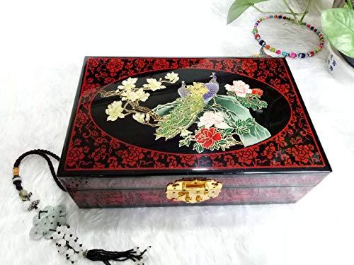 JIANPING Klavierlack Kupferdraht Shell Inlay, Gold Schmuckschatulle 28 * 18 * 10 cm Kosmetiktasche (Style : C) (Holz-inlay-tools)