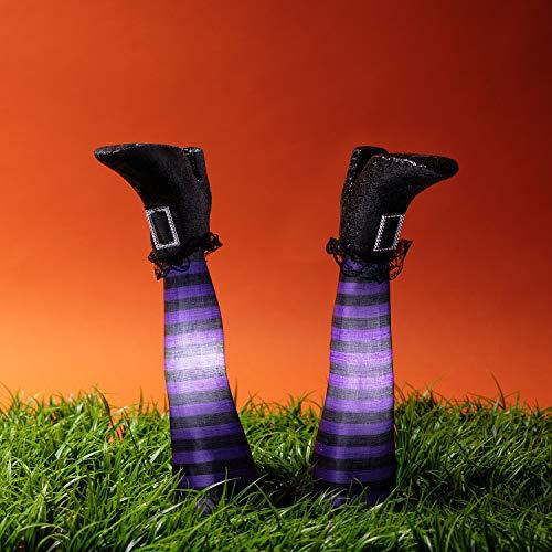 Lights4fun LED Halloween Hexenbeine mit Erdspießen Halloween deko Batteriebetrieb