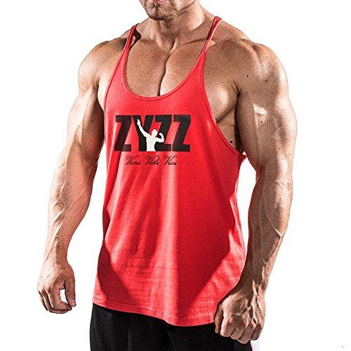 Alivebody Herren Bodybuilding Tank Top Sport Weste Gym Sleeveless Muskelshirt Rot L