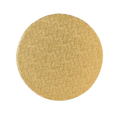 Tortenplatte/Cakeboard 35,4cm rund | aus fester Pappe | golden kaschiert | Motivtorten
