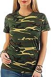 Happy Clothing Damen Camouflage T-Shirt Army Armee Bundeswehr Tarnfarben Grün, Größe:S, Farbe:Camouflage