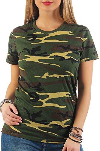 Happy Clothing Damen Camouflage T-Shirt Army Armee Bundeswehr Tarnfarben Grün, Größe:S, Farbe:Camouflage (Woodland Baumwolle T-shirt Tarn Army)