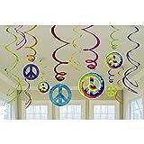 12 Stk. Party Spiralen Deko Girlanden 70er Jahre 60`s Hängedeko Peace Deckenhänger Hippie Dekogirlande